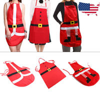 Santa Claus Red Apron Home Kitchen Bar Adults Christmas Xmas Cooking Party Gift