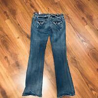 Miss Me Jean Boot Cut Jeans Size 31 Flap Pockets Medium Wash 33 Inseam Long 0098