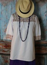 Lg Peasant Blouse Crochet & Beaded Yoke White Puebla Handmade Nahua Mexican Boho