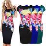Women Floral Print Sleeveless Split Cocktail Party Bodycon Midi Dress plus size