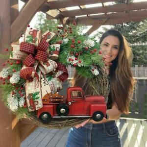 Red Truck Christmas Wreath Door Ornaments Window Wall Home Decor Party Garland