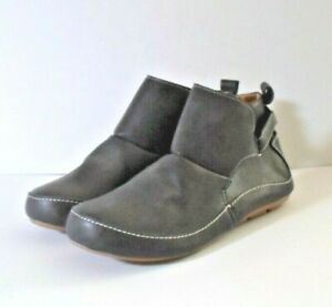 Ladies Soft Synthetic Flat Ankle Boots Grey Size 7
