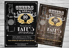 30TH 40TH 50TH 60TH Invitation BEERS CHEERS Digital Birthday Party Invite