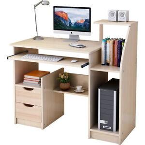 100CM Computer Desk Wooden Table Laptop Study Drawer Bookshelf Keyboard Cupboard