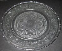 "KIG Glass Fleur de Lis Clear Sandwich Platter Dish 12"" scalloped edge w balls"