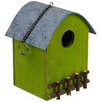 Dekoratives Holz-Vogelhaus Brutkasten Nistkasten mit Zaun ca. 12,5 x 15,5cm grün
