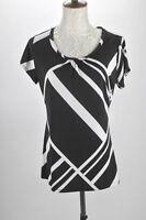 Worthington Women's Stretch Blouse Top Size S (6-8) Black White Abstract Design