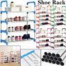 12 Pairs 4 Tier Shelf Portable Metal Pipes Shoe Rack Storage Organizer Stand UK