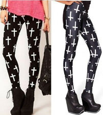 black with white crosses woman's gothic stretchy fashionable gym dance leggings