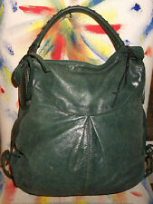 Francesco Biasia Large Green Leather Shoulder Bag Handbag w Top-Stitch Strap