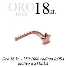 Piercing da naso nose ORO ROSA 18kt. con motivo STELLA pink GOLD 18kt with STAR