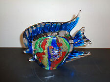 Large Murano Art Glass Colorful Angel Fish Figurine Made in Italy (7 by 8.5 by 4