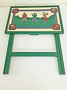 "1 Folding Tray Table Laptop TV Dinner Vintage Golfers Themed 25 x 21.5 x 14"""