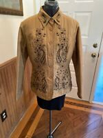 NWT Carole Little Quilted SILK GOLD / BLACK JEWELED Jacket Women's Size M