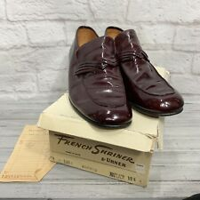 Vintage French Shriner Patent Leather Loafers Shoes Oxblood Italy Men's 10 1/2 M