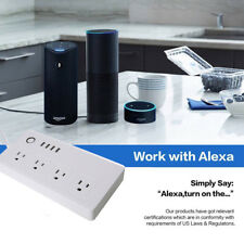 WiFi Smart Power Strip Socket with Alexa Protector with 4 AC Outlets 4 USB NEW