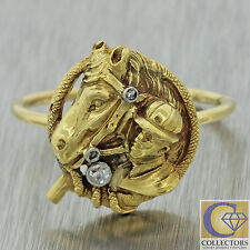 1880s Antique Victorian French 18k Solid Yellow Gold Diamond Horse Jockey Ring