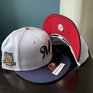 New Era 4UCaps Beer Pack Milwaukee Brewers sz 7 Not Hat Club 40th Patch 2tone