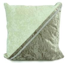 """Set of 4 Cushions Crush Velvet 2 Rows Diamante 2tone 17""""x 17"""" Filled Beige-cream"""