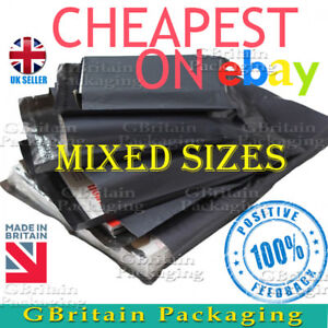 60 MIXED SIZES -12 x 16 + 9 x 12 + 6 x 9 STRONG LARGE GREY POSTAL MAILING BAGS
