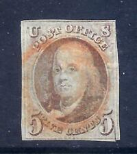 US Stamps - #1 - USED - 5 cent 1847 Franklin Issue - CV $350 - red cancel