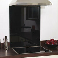 Black Glass Splashback Heat Resistant-Toughened 600 x 750mm,60 x 75cm