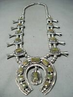 WOMEN'S SIGNED VINTAGE NAVAJO TURQUOISE STERLING SILVER SQUASH BLOSSOM NECKLACE