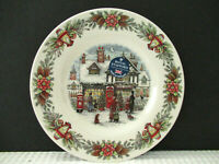 """Royal Stafford Christmas Toy Shop Red Set of 4 Round 8-1/4"""" Salad Plates NEW!"""
