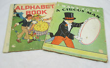Lot of 2 Vintage Children's Books Saalfield Publishing ABC Circus Man 1934
