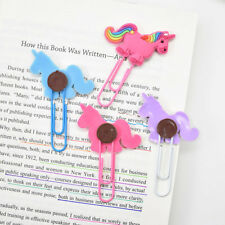 2X Unicorn Bookmark Paper Clip Markers Kids Student School Stationery Supplies