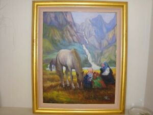 Wang Tung Contemporary Original Chinese Artist's Oil Painting On Canvas Signed