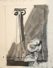 Vintage abstract landscape ink painting