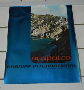 Mid Century Braniff International Airlines Poster Acapulco Mexico
