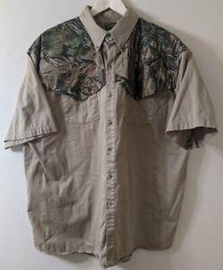 Spartan Realtree Vintage Camo Western XL Short Sleeve Hunting Shirt Mens