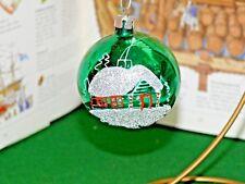 Vtg Poland Mercury Glass Green Christmas Ornament House Glitter Decorated Design