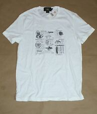 $95 RRL Double RL Ralph Lauren Men Vintage White Moto T-Shirt  Size: Medium New