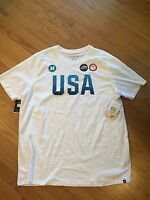 Hurley MTS0022020 Mens Dri-FIT Team (USA) White Men's T-Shirt Size M-XXL
