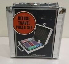 DELUXE TRAVEL POKER SET New Aluminum Case Poker Chips Playing Cards Dice