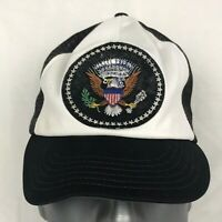 Vintage presidential Seal Patriotic Hat Cap Mesh Trucker Black White Made in USA