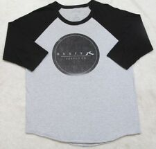 Rusty Gray & Black Tee T-Shirt Large 3/4 Sleeve Solid Cotton Polyester Men's Top