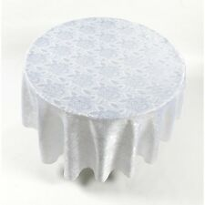 "Rose Damask Fabric Tablecloth In White, Size 70"" Round' Fab-Rd/Dam/21 New"
