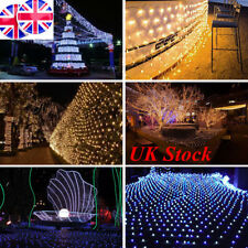 UK LED String Fairy Lights Net Mesh Curtain Xmas Wedding Party Outdoor Home Lamp