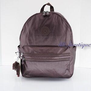 NWT Kipling BP4194 Bouree Backpack School Bag Nylon Popping Purple Metallic $114