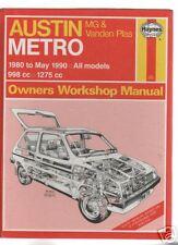 AUSTIN METRO MG & VANDEN PLAS.1980-90.All Models.Haynes Manual.End Of Stock!