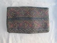 VINTAGE 1920's DYED & WOVEN STRAW CLUTCH PURSE HANDBAG & COIN PURSE