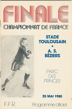 TOULOUSE v BEZIERS 1980 FRENCH CUP FINAL RUBGY PROGRAMME