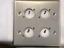 "Leviton Stainless Steel Wallplate Double Gang, Four Neutrik  ""D"" Holes"