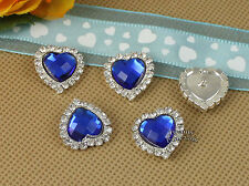 10 X Rhinestone Blue Acrylic Gem Silver Heart Button Embellishments Jewelry