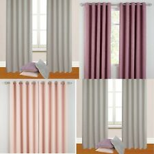 HUGO WOVEN BLACKOUT RING TOP CURTAINS - PASTEL COLOURS  - FREE P&P