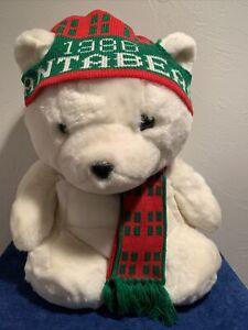 Santa Bear Vtg Plush Stuffed Animal 1986 Dayton Hudson Stocking Hat Macys Scarf